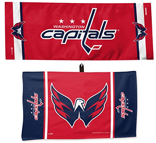 Wincraft Bundle 2 Items  Nhl Washington Capitals Towel Set 1 Golf Waffle Towel 14X24 Inches And 1 Cooling Towel 12X30 Inches