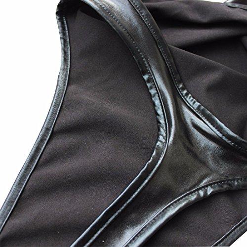 FEESHOW Negro Mujer cuero de imitación Tanga de una sola pieza Leotardo de la ropa interior del traje de baño de cuerdas