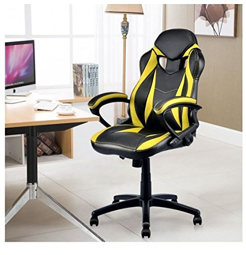 512EIIBWCLL - MD Group Gaming Chair High Back Executive Yellow PU Race Style Bucket Seat Height Adjustable