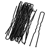 uxcell® Metal Woman Hair Barrette U Shaped Single Prong DIY Hairstyle Clips 20 Pcs Black