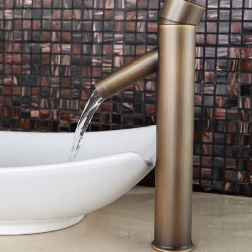90 Degree Antique Inspired Copper Bathroom Single Handle Basin Faucets Tall Mixer Taps