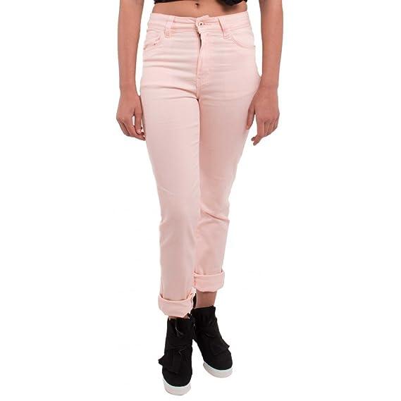 6038c0d522c11 Jean femme rose clair coupe droite   taille haute type jean stretch avec  revers chevilles amovibles