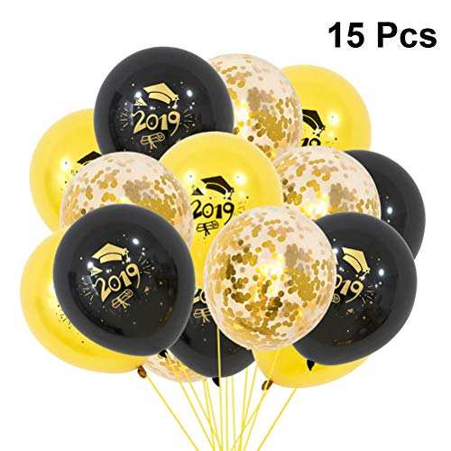 Amosfun Graduation Balloons 2019 Cap Printing Ballons Inflatable Confetti Balloons Party Decoration 15 Pcs -