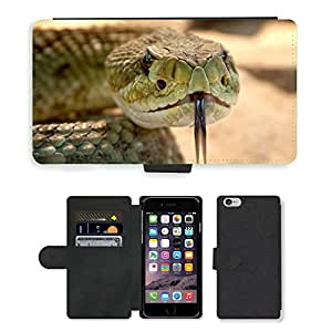 """Super Stella Cell Phone Card Slot PU Leather Wallet Case // M00103801 Rattlesnake Toxic Snake Dangerous // Apple iPhone 6 4.7"""""""