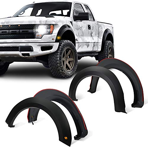 GaofeiLTF Fender Flares Kit Fits 2015-2017 Ford F-150 Styleside, Front Rear Right Left Wheel Cover Protector with LED Lights, Raptor Style 4pcs Matt Black