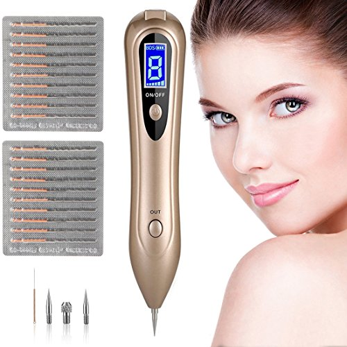 [UPGRADE] Portable Mole Remover, Newest 8-Gears Adjustable Power-Output Rechargeable Skin Tag Removal Pen with LCD, Home Use Laser Freckle Warts Dot Dark Spot Tattoo Eraser