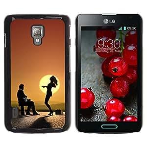 Qstar Arte & diseño plástico duro Fundas Cover Cubre Hard Case Cover para LG Optimus L7 II P710 / L7X P714 ( Sunset Dance Music Art Mountain View)