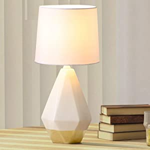 SOTTAE Modern Small White and Gold Ceramic Table Lamp, Irregular Geometric Desk Lamp with White Fabric Shade, Beside Nightstand Lamp for Living Room Bedroom