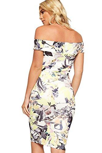 Knee Yellow Bodycon WearAll Length Dress Floral Sleeveless Womens Stretch Bardot Print qaO8wZ