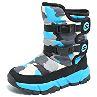 GUBARUN Boys Snow Boots Winter Waterproof Slip Resistant Cold Weather Shoes (Little Kid)-2.5M,Black/Blue