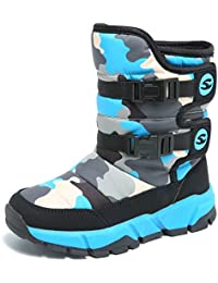 Boys Snow Boots Winter Waterproof Slip Resistant Cold Weather Shoes (Toddler/Little Kid/Big Kid)