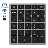 Wireless Numeric Keypad, Jelly Comb Rechargeable Slim 2.4GHz Wireless Number Pad with USB Receiver, Full Size 28-Key Numpad for Laptop, Notebook, PC, Desktop and More