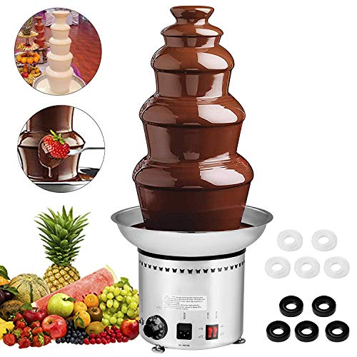 Mophorn Commercial 5-Tier 27 inch Stainless Steel Chocolate Fountain Machine for Wedding Parties,