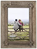 Malden International Designs Fashion Woods Criss Cross Graywash Picture Frame, 4x6, Gray