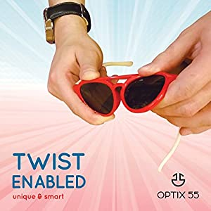 Kids Flexible Rubber Sunglasses for Boys and Girls - Thunderbolt Shape Bendable and Unbreakable Frame - 100% UV Protection and Polarized Lenses - By Optix 55