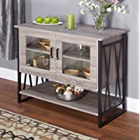 Seneca Glass-Metal-Wood Laminate Small Dining Room Buffet Cabinet Storage