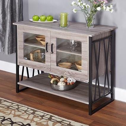Delightful Seneca Glass Metal Wood Laminate Small Dining Room Buffet Cabinet Storage