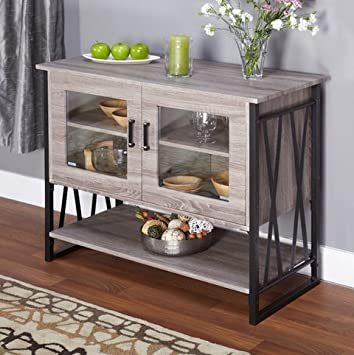 Charming Seneca Glass Metal Wood Laminate Small Dining Room Buffet Cabinet Storage