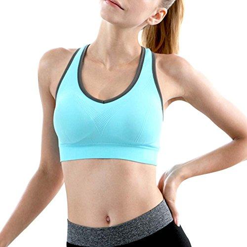 Ancdream Sujetador Deportivo sin Costura para Mujer (Estilo Racerback). Para Yoga, Estiramiento, Running Negro & Azul