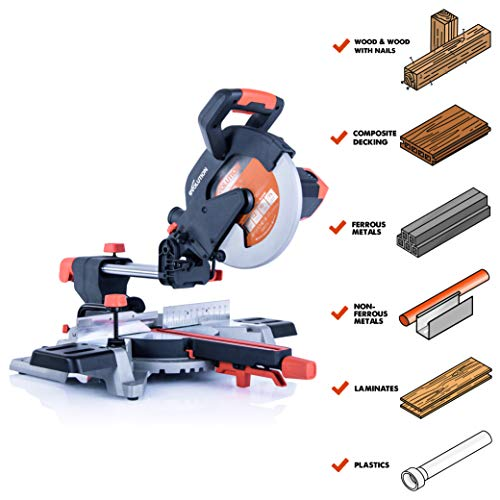 Evolution Power Tools R255SMSL 10″ Multi-Material Compound Sliding Miter Saw