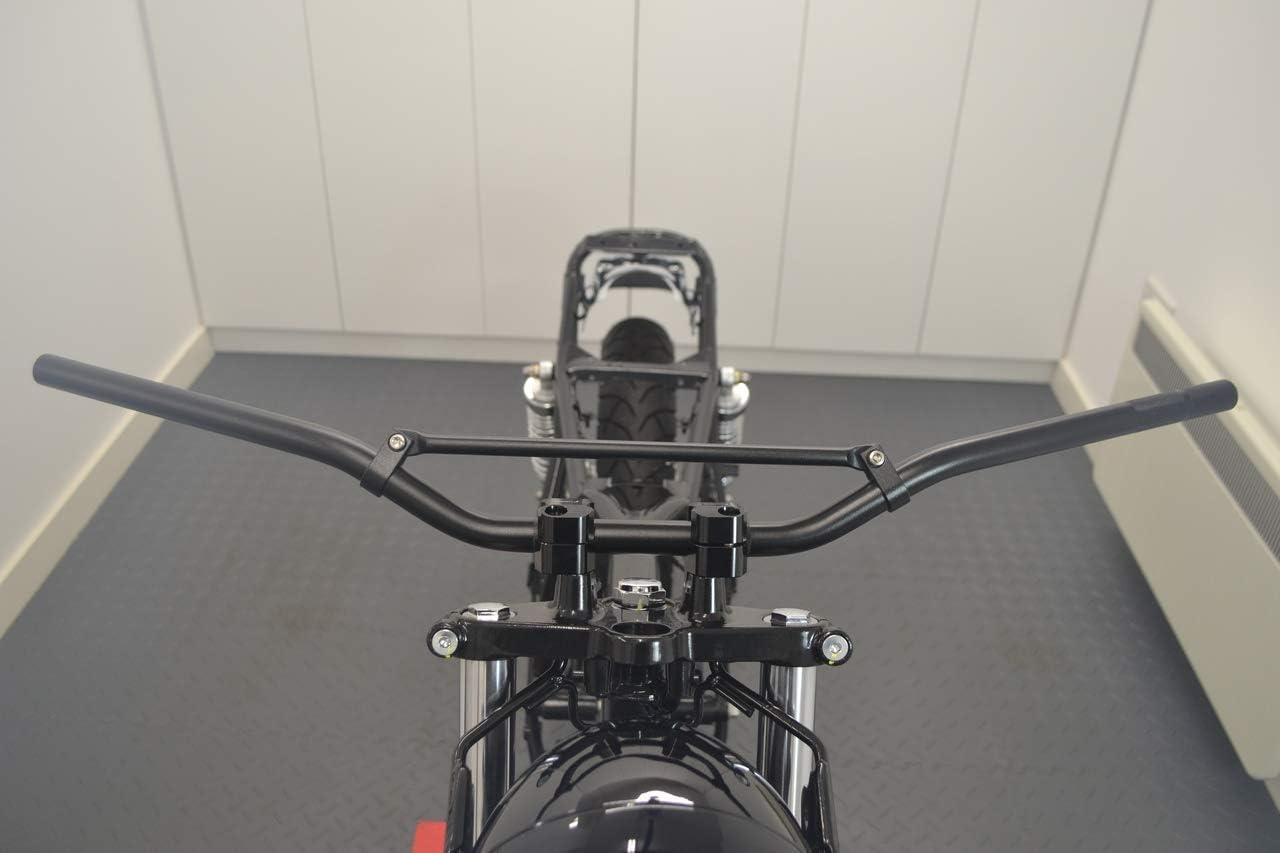 Nero Motocicletta Manubrio per Trail Motocross Streetfighter Scrambler Rinforzato 22mm 7//8