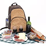 Cheap Bucasi PB100 Natural Cork Design Wine Cooler Carrier Backpack for Wine Travel Outdoors- Custom Container Wine Glasses and Opener