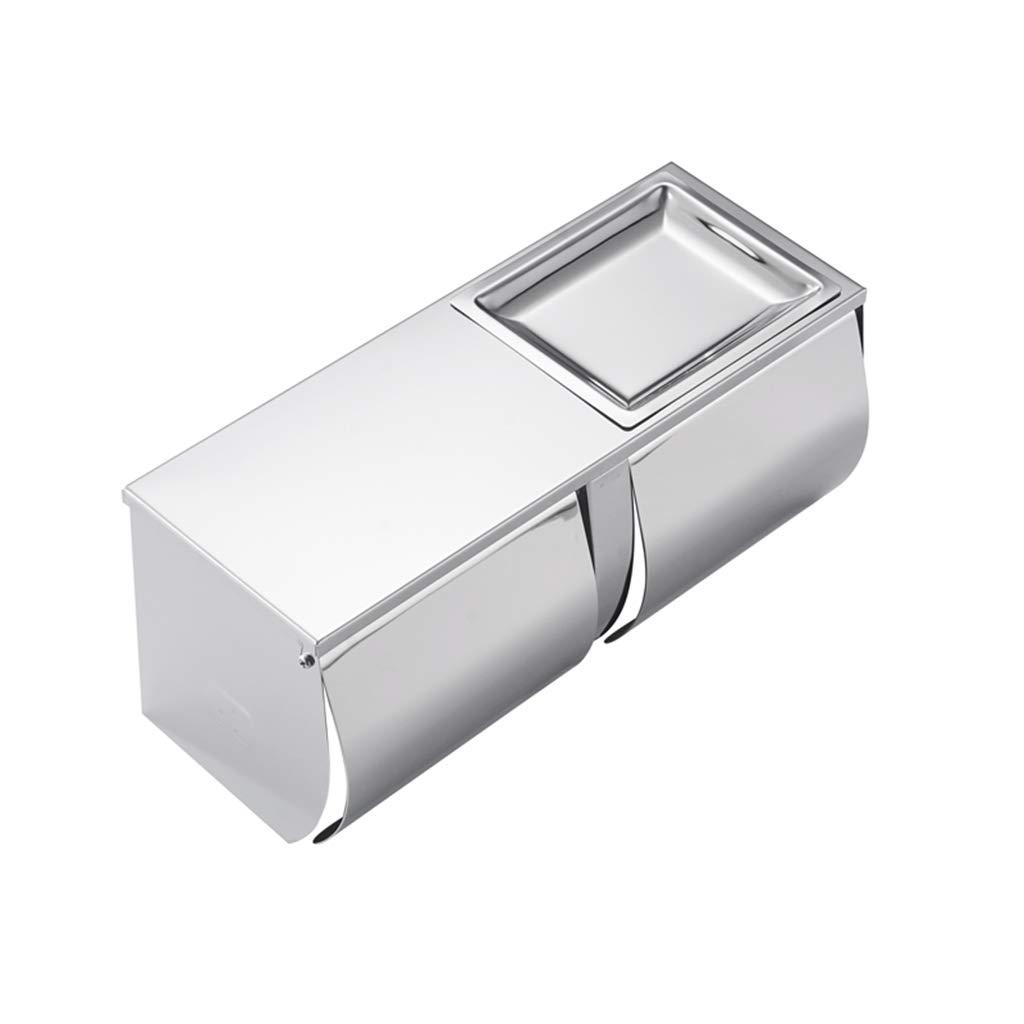 WEEKDEGY Toilettenpapierhalter 3M selbstklebend ohne zu Bohren 304 Edelstahl mit Regal/Aschenbecher/Abdeckung Wasserdichtes Badezimmer Doppelrollenhalter