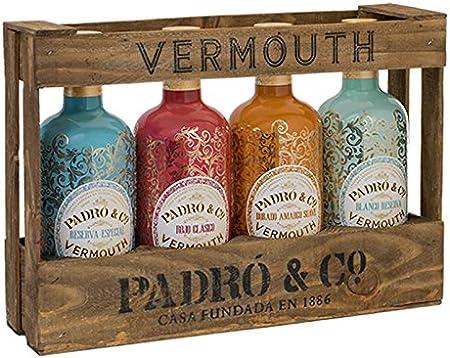 Padró & Co Vermouth en Caja de Madera - Paquete de 4 x 750 ml - Total: 3000 ml