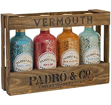 Padró & Co Vermouth en Caja de Madera - Paquete de 4 x 750 ml - Total: 3000 ml: Amazon.es: Alimentación y bebidas