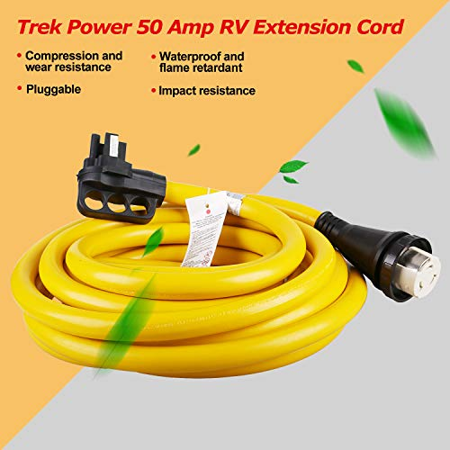Trek Power 50Amp4 Wire RV Twist Lock Power Cord With Connector Plug With Grip Handles (30ft)