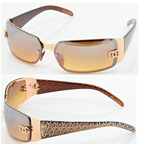 New DG Women Fashion Designer Sunglasses Shades Rectangular Wrap Gold Brown - With Shades Sunglasses