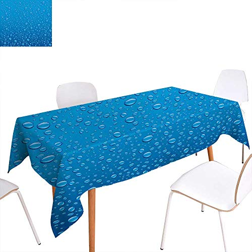 familytaste Rain Dinning Tabletop Decoration Water Drops on Glass Relaxing Ecology Purifying Symbol Fresh Water Monsoon Environment Image Table Cover for Kitchen 70