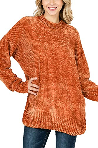 Vialumi Women's Solid Round Neck Long Sleeve Chenille Sweater Rust Large