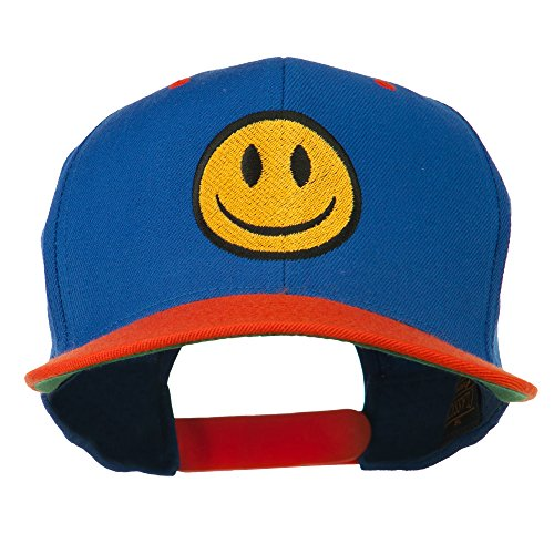 (E4hats Smiley Face Embroidered Two Tone Cap - Royal Orange OSFM)