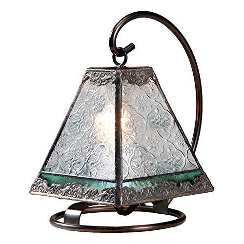 J Devlin Lam 559 Tiffany Mini Lamp Clear Vintage Sage Green Accent Night Light Memory Lamp