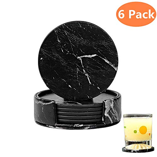 (6 Pcs Coasters for Drinks with Holder Set, Leather Coasters Marble Black Round Cup Mat Pad with Cork Base for Coffee Mugs Cups, Prevent Furniture from Dirty Scratched in Home Kitchen Office Use.)