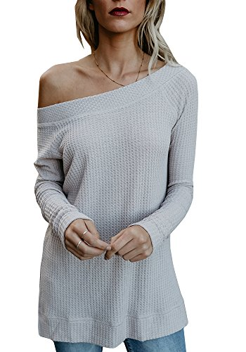 Beautife Womens Sweaters Off Shoulder Casual Oversized Long Sleeve Knit Pullovers Tunic Tops White