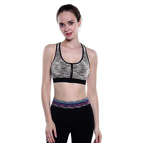 Amazon.com: AFfeco Women Sexy Sports Bra Shockproof Padded ...