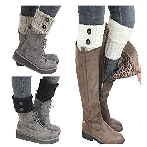 Jiuhong 3 Pairs Women Winter Warm Crochet Knitted Boot Cuff Sock Short Leg Warmer