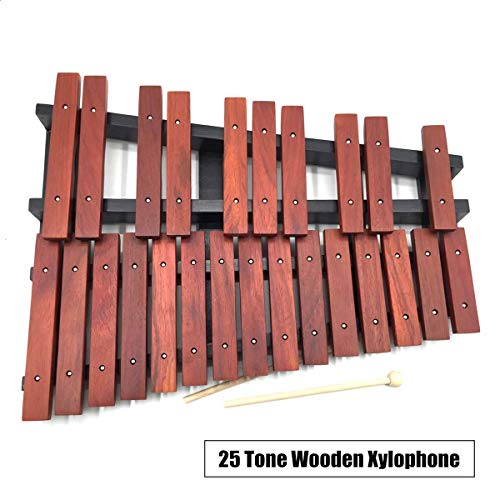 25 Tone Sound Key Wooden Xylophone Mallets Board Stand Musical Percussion Instruments School Teaching Orff Instruments ()
