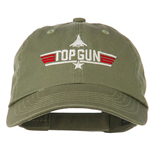 US Navy Top Gun Fighter Embroidered Washed Cap - Olive OSFM -