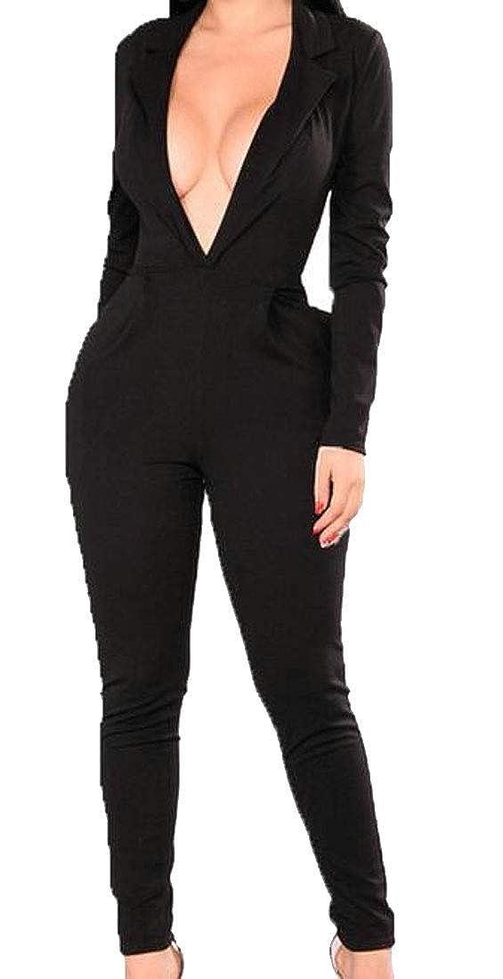 Cromoncent Women Vogue Deep V-Neck Long Sleeve Bodysuit Long Rompers Jumpsuits