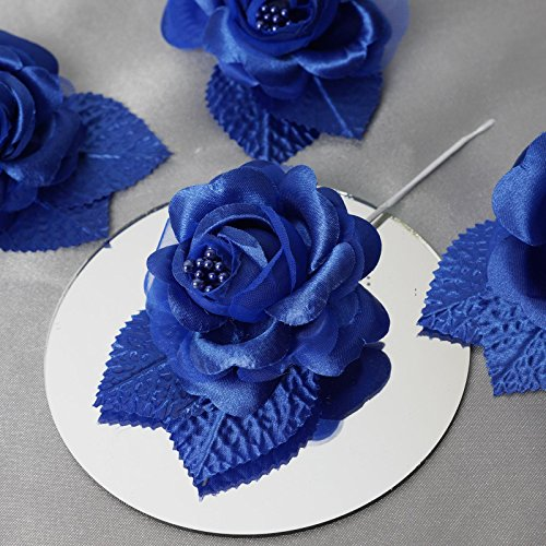 BalsaCircle 12 Royal Blue Open Roses Craft Flowers - Mini Flowers for DIY Wedding Birthday Party Favors Decorations Supplies Bulk (Rose Royal Spray)