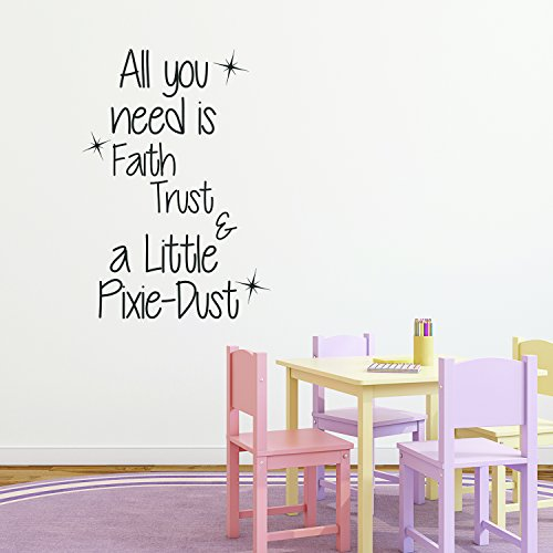 Inspirational Quotes Wall Decal for Girls Bedroom - All You Need is Faith, Trust, and a Little Pixie Dust - 33