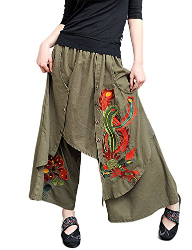 Idopy Women`s Floral Ethnic Wide Leg Harem Skirt Pants with Embroidery Green
