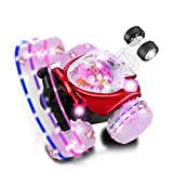 RC Stunt Car, YKS Invincible Tornado Twister - Multifunctional Rechargeable RC Acrobatic Stunt Car with LED Lights and Music (Red)