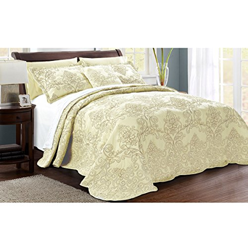 4 Piece Green Oversized Damask Bedspread Set King, French Country Shabby Chic Floral Pattern Luxury Bedding, To The Floor Drapes Over Edge Scalloped Edges Extra Long, Microfiber Polyester by OSVT