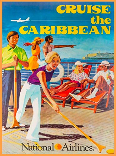 A SLICE IN TIME Cruise The Caribbean National Airlines Vintage Airline Travel Home Collectible Wall Decor Advertisement Art Poster Print. 10 x 13.5 inches