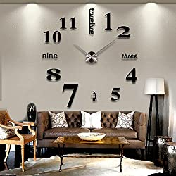 HUAGNYAHUI Diy Wall Clock Large Frameless 3D Wall Mirror Stickers Silent Home Decor ,Silver Pointer+Black Number