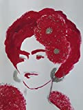 FRIDA KAHLO - IN RED - Abstract - POP - MEXICAN FOLK ART Style :: ORIGINAL PAINTING - Acrylics and Ink - Modern Painting on Heavy White Paper - SIZE:11''x8.5'' - Signed by the Artist
